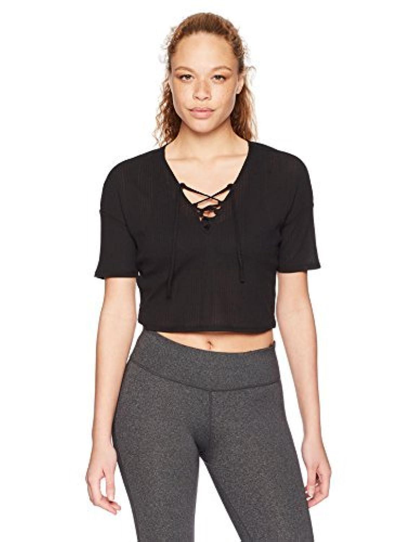 Alo Yoga Women's Interlace Short Sleeve Top Black M [並行輸入品]