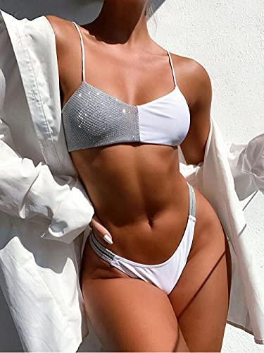 WQZYY&ASDCD Traje De Baño Bikinis Traje De Baño Sexy para Mujer De Cintura Baja De Color Sólido Push-Up Bikini Swimsuit-76574_L