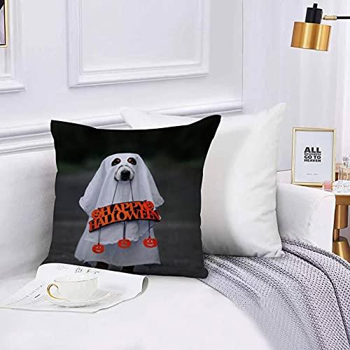 Lilatomer Funda de algodón 45 x 45 cm Disfraz de Perro Fantasma con Feliz Halloween Sofá Throw Cojín Almohada Caso de la Cubierta para Sala de Estar 45x45cm