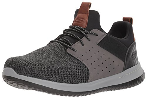 Skechers Men's Classic Fit-Delson-Camden Sneaker, Black/Grey,12 Wide US