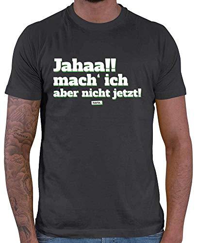 HARIZ Herren T-Shirt Jahaa Mach Ich Aber Nicht Jetzt Männer Sprüche Inkl. Geschenk Karte Dunkel Grau L
