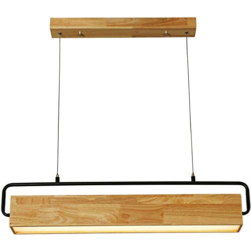 PLJQ Moderne warme LED hanglamp hout lampenkap houten lamp zwart ijzer lange hanglamp in hoogte verstelbaar kroonluchter voor keuken eiland eetkamer eettafel bar café kantoor landelijk hanglamp