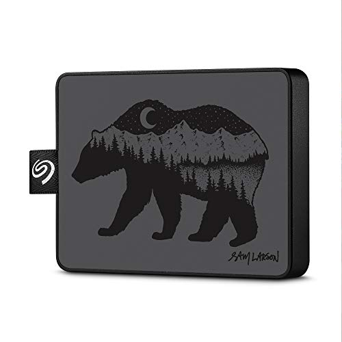 Seagate One Touch SSD 1TB External Solid State Drive Portable – Sam Larson, USB 3.0 for PC Laptop and Mac, 1yr Mylio Create, 2 Months Adobe CC Photography, Black Bear (STJE1000100)