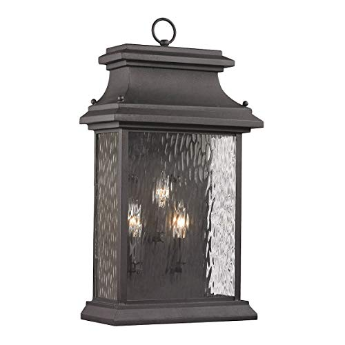"ELK Lighting 47054/3 Forged Provincial Collection 3 Light Outdoor Sconce, 23 x 12 x 7"", Charcoal"