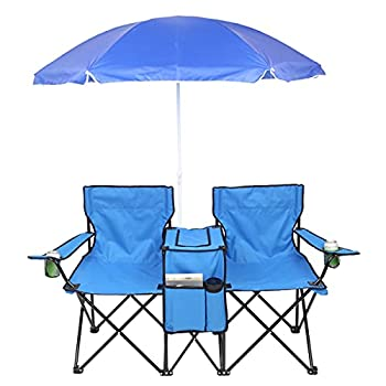 IMGZAR Double Folding Picnic Chairs 2-Person Folding Camp Beach Chair with Removable Umbrella Mini Table Beverage Holder Carrying Bag for Outdoor Patio Garden Fishing Portable Camping Chair  Blue