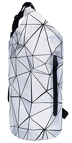 SNAILMAN Waterproof Dry Bag for Women Men, 5L Roll Top Lightweight Dry Storage Bag Backpack with Phone Zipper Pocket, Swimming, Boating, Kayaking, Camping and Beach (Geometry, 5L)