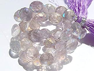 Jewel Beads Natural Beautiful jewellery Pink Amethyst AB Gemstone Briolette Bead. Semi Precious Gemstone. Faceted Onion Briolette 9mm 10pcsCode:- JBB-42586