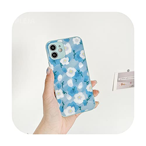 Cubierta trasera dura de cristal de moda lindo flores teléfono caso para iPhone 12 Mini 11 Pro Max X XS Max XR SE 2020 7 8 Plus brillante casos-YY332-For-iphoneX