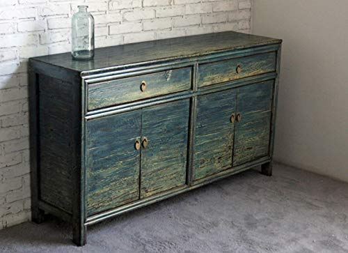 OPIUM OUTLET Cómoda china azul Asia aparador de estilo oriental aparador de boda, armario de boda, vintage, estilo antiguo, shabby chic