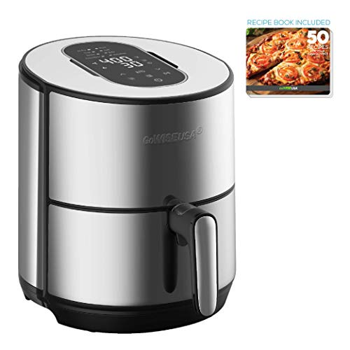 GoWISE USA 4.6-Quart Electric Air Fryer Dehydrator with 50 Recipes, GW77726, Black/Silver