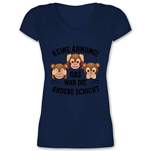 Sprüche Statement mit Spruch - Keine Ahnung das war die andere Schicht Affen schwarz - XL - Dunkelblau - t-Shirt Damen mit AFFE - XO1525 - Damen T-Shirt mit V-Ausschnitt