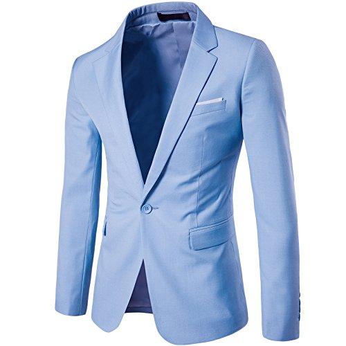 LEOCLOTHO Anzug für Männer Regular Fit Business EIN Knopf Herrenanzug Smoking Jacke Suit Blazer Hellblau L