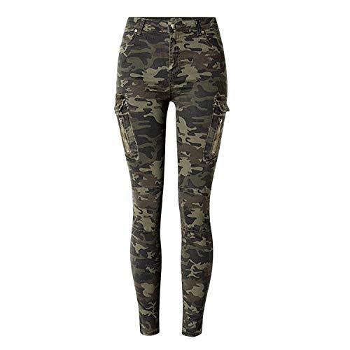 LAEMILIA Damen Camouflage Skinnyhose Legging mit Löchern Slim Fit Military Army Hosen Streetwear (EU 38, Armee grün-2353)