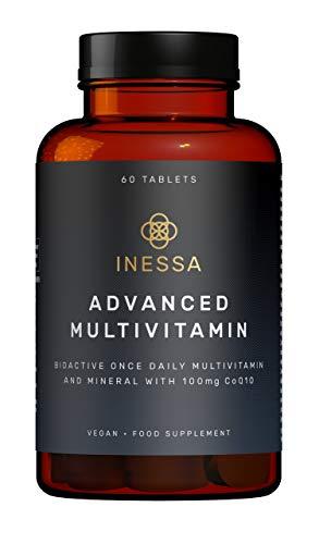 Multivitamínico de Inessa Wellness | Complejo Vitamínico contro el Cansancio con Coenzima q10 Antioxidante, Vitaminas A, B, C, D, E, K y Minerales | Complemento Vegano sin Gluten o Colorantes