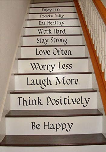 stickers muraux bebe juju et compagnie Be Happy Worry Less Work Hard Love Often Eat Healthy Exercise Daily For Stairs Home Decor