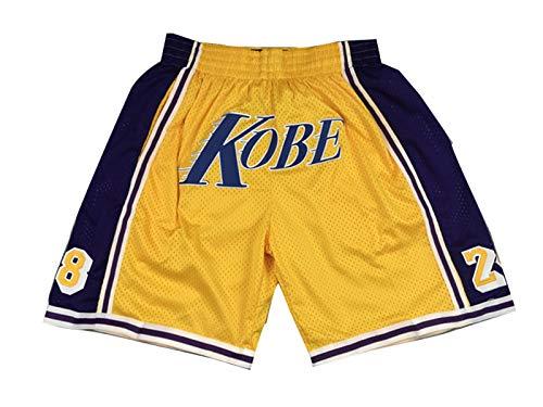 NNBBAA Hombres NBA Jersey Lakers Kobe # 8# 24 Pantalones Cortos de Baloncesto Bordados Pantalones Cortos Deportivos portátiles de Secado rápido de Bolsillo