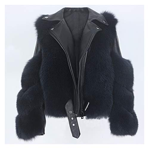 Yanhuigang Chaqueta cálida y cómoda fácilmente. Real Chaleco de Abrigo de Piel Real Chaqueta de Invierno Mujeres Natural Fox Piel de Cuero Genuino Ropa de Exterior Detachable Streetwear Locomo