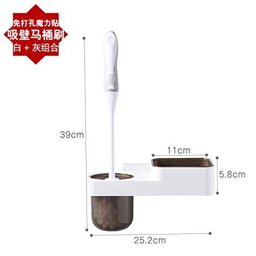 WANDOM Euro Style WC-Bürsten-Satz der Wand befestigte kreative Durchschlags-Free Toilettenbürste weichborstige WC Startseite Einbau-Regal Toilettenbürste Weiß + GrayY13-DJ3642108925