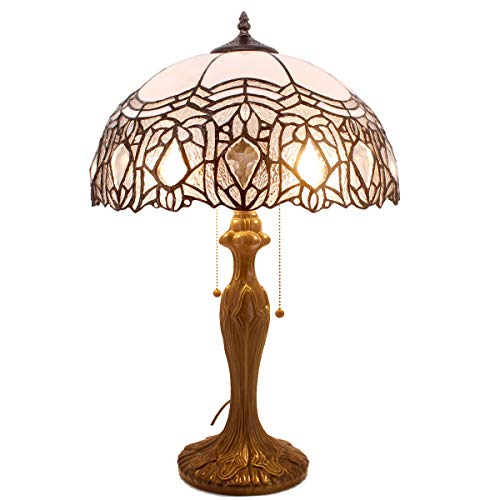 Tiffany Style Table Lamp Stained Glass Beside Desk lamp W16H24 Inch White...