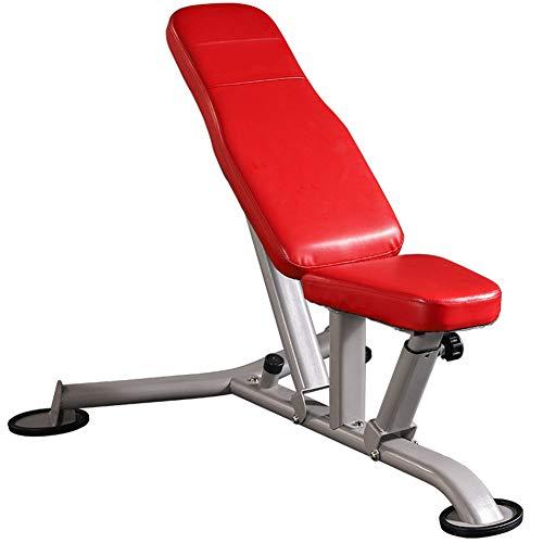 SXX Banco de pesas ajustable, entrenamiento de fuerza en el gimnasio en casa, prensa de banco FID inclinación/declinación, 8 niveles de ajuste de altura, puede soportar 300 kg, color rojo 🔥