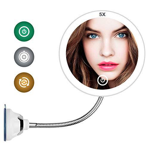 PLHMS 10X Vergrootspiegel met licht LED verlichte make-up spiegel scheerspiegel met verlichte flexibele Goosenhoek spiegel met verlichting make-up spiegel met verlichting