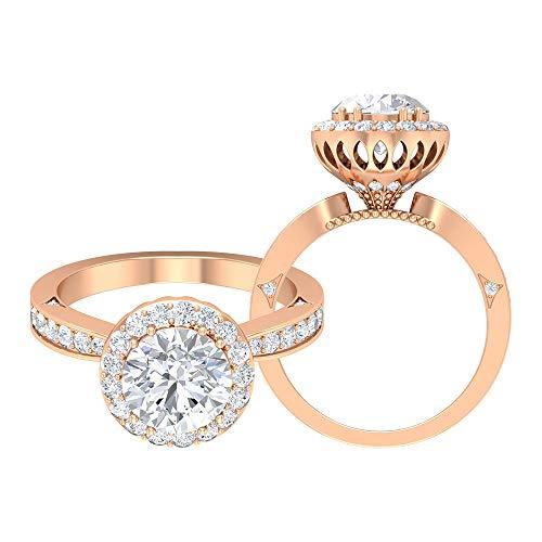 Anillo de compromiso único, D-VSSI de 2,6 ct, anillo de moissanita solitario, anillo de halo, anillo de novia, anillo de declaración vintage, anillo antiguo, 14K Oro rosa, Size:EU 59