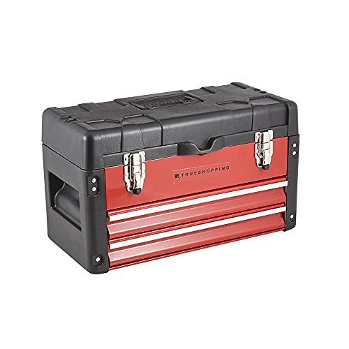 Trueshopping Cassetta degli Attrezzi Topchest - Cassetta degli Attrezzi Portatile per Impieghi Gravosi con 2 Cassetti Supplementari - Dotato di Vassoio Interno Removibile