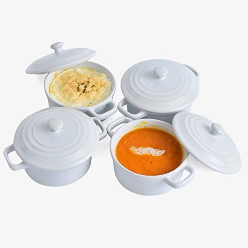 KVV Porcelain Ramekins with Lid for Oven Safe Set of 4,6 Ounce Round Mini Ceramics Casserole Dish for Baking, Souffle Dish(White Set of 4)