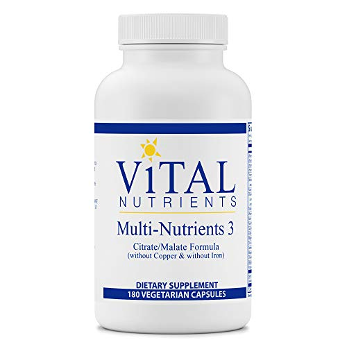 Vital Nutrients - Multi-Nutrients 3 - Citrate/Malate Formula (Without Copper or Iron) - Multi-Vitamin/Mineral with Potent Antioxidants - Gentle Bioavailable Form - 180 Vegetarian Capsules per Bottle