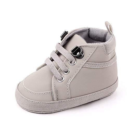 Neugeborenes Baby Boy Schuhe Solid PU Erster Wanderer 1 Jahr alt 0-18 Monate Soft-Sohlen Babybett Schuhe Warme Stiefel rutschfeste Turnschuhe (Farbe : 0 6 Months, Size : Gray)