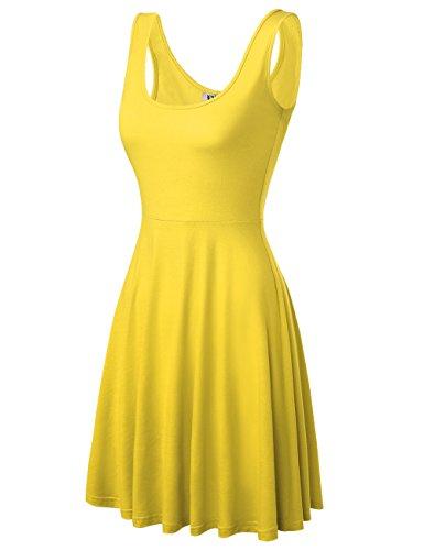DJT Damen Vintage Sommerkleid Traeger mit Flatterndem Rock Blumenmuster Gelb L