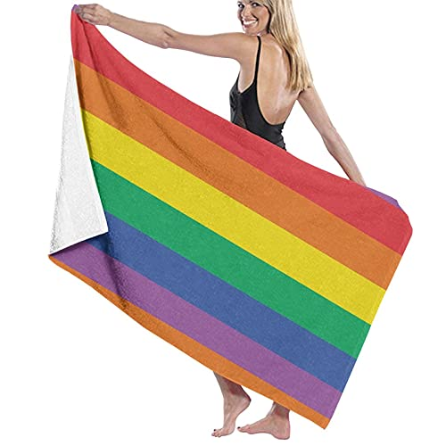 asdew987 Juego de toallas de playa con diseño de rayas de arcoíris para baño, toallas de baño,...
