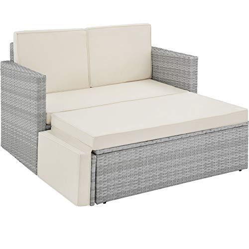 TecTake 800884 Poly Rattan Lounge Set, 2-Sitzer Sofa mit Rückenlehne, großer Hocker mit klappbarer Stütze, inkl. Dicke Auflagen, Gartenmöbel Set für Garten & Terrasse (Hellgrau | Nr. 403687)