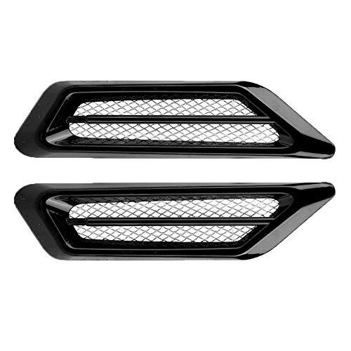 Qii lu 2 Stks Universele Auto Nep Zijkant Luchtstroom Vent Cover Intake Grille Decoratieve Sticker default Zwart