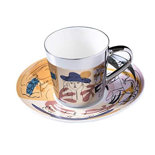Mug Spiegelreflexion Kaffeetasse Luycho Spiegel Kaffeetasse Spiegelreflexion Picasso Malerei Keramik Tassen Und Untertassen Sebd Schaufel Kaffee-Stil Im Europäischen Stil, Silber, China