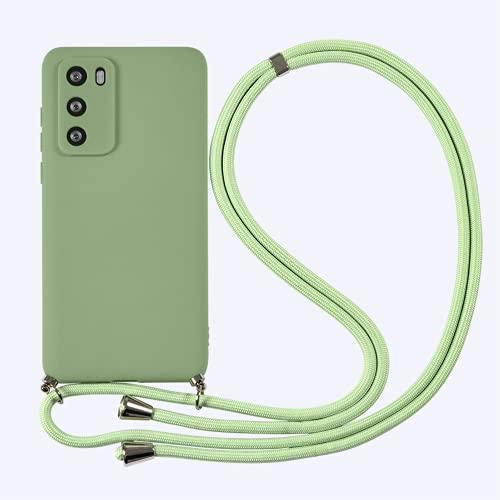 Yoedge Funda con Cuerda para Huawei P20 Lite 2018 5,84',Verde Hierba TPU Silicona Mate Lindo Dibujos Animados Case con Colgante Ajustable Correa de Cordón Cárcasa para Huawei P20 Lite,Verde Hierba