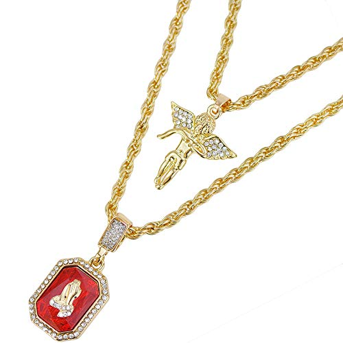 Angel Ruby Necklace Diamond Hiphop Pendant Rope Rocker Jewelry Gift for Men with 24'&28'Chain
