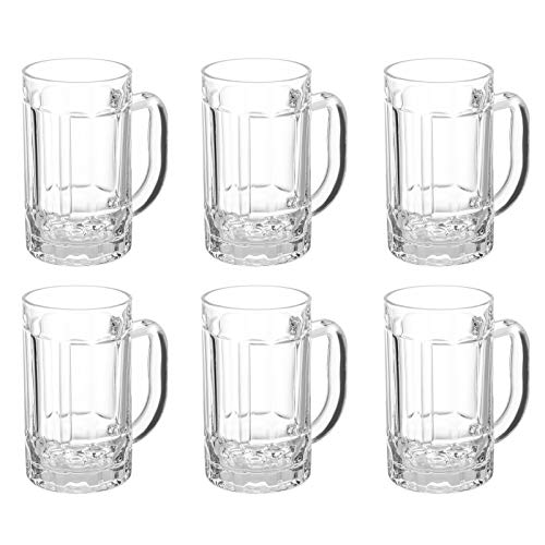 COKTIK 6 Pack Heavy Large Beer Glasses with Handle  14 Ounce Glass Steins Classic Beer Mug glasses Set