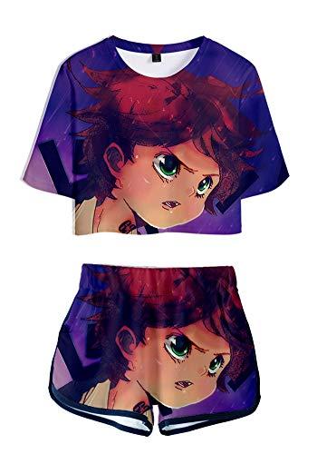 QYIFIRST Emma Jersey Exposed Nabel - Conjunto de camiseta y pantalones cortos para animadoras, disfraz de animadora, color lila, para mujer, talla L