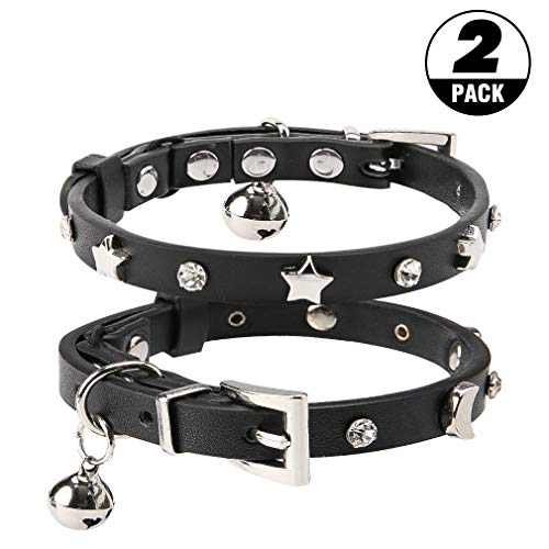 Leather Cat Collar with Bell - 2 Pack Moon and Stars Pattern with Safety Belt Length of 9-12 Inches Suitable for Cats Kitten & Puppy