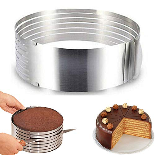 RAINBEAN Adjustable Layered Cake Cutter Slicer,6-8 Inch Stainless Steel Round Bread Cake Slicer Cutter Mold Cake Tools,Circular Baking Tool Kit Set Mousse Mould Slicing-Silver