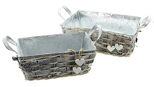 SIDCO Pflanzkasten 2 x Herz Blumenkasten Pflanzer Metall Pflanzkübel Pflanztrog Zink