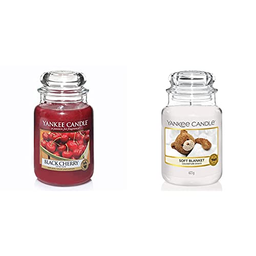 Yankee Candle Candele in Giara Grande, Amarena (Black Cherry) + Coperta morbida, Durata Fino a 150 Ore