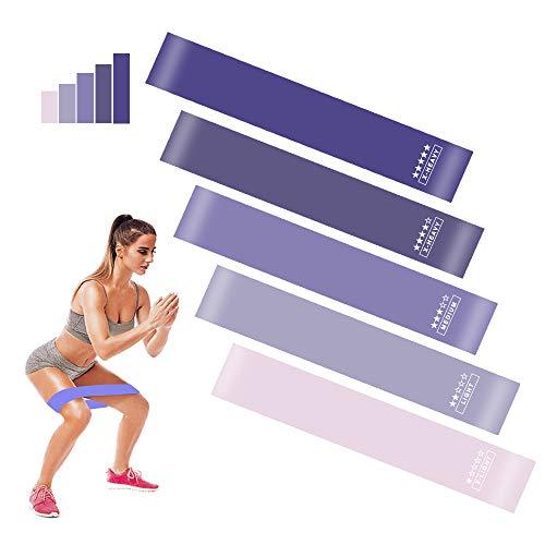 BIFY Fitnessbänder [5er Set] Widerstandsbänder Theraband,Loop-Bands,Resistance Bands, Gymnastikband aus Naturlatex für Muskelaufbau Pilates Yoga usw (Lila)