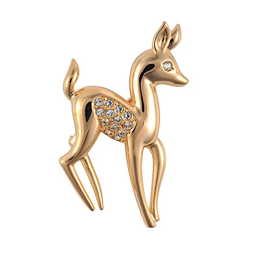 Cristalina 18k Gold Plated 1950s Style Baby Deer Fawn Brooch with Crystals