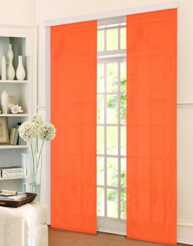 Schiebepanel Flächen Vorhang aus Microsatin mit Panelwagen, Farbe:orange