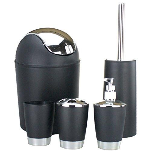 Smartweb 5 Teiliges WC Set Mülleimer Klobürste Seifenspender Mülleimer Abfalleimer (Schwarz)