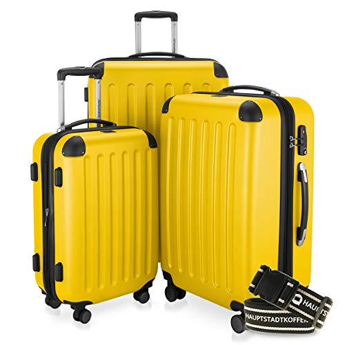 Hauptstadtkoffer - Spree - 3er-Koffer-Set Trolley-Set Rollkoffer Reisekoffer-Set Erweiterbar, TSA, 4 Rollen, (S, M & L), Gelb inkl. Gepäckgurt