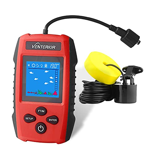 Venterior Portable Fish Finder Handheld Fishfinder Depth Finder Ice Kayak Fishing Gear with Sonar Transducer and LCD Display (Deep Red)