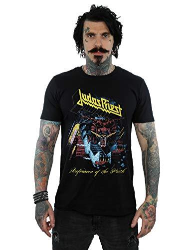 Absolute Cult Judas Priest Hombre Defender of Faith Camiseta Negro Small